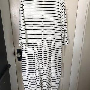 J.Crew Maxi dress black stripes on white size xxl